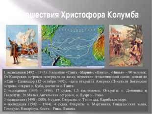 Путешествия Христофора Колумба 1 экспедиция(1492 – 1493). 3 корабля «Санта –М