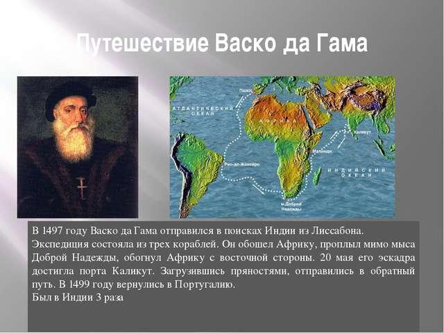 Путешествие Васко да Гама В 1497 году Васко да Гама отправился в поисках Инди...