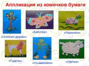 Аппликация из комочков бумаги «Осеннее дерево» «Овечка» «Бабочка» «Черепаха»