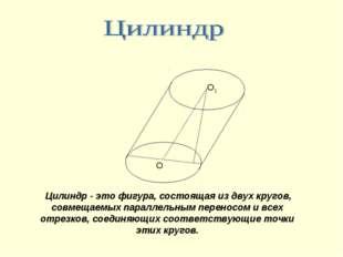 О1 О Цилиндр - это фигура, состоящая из двух кругов, совмещаемых параллельным