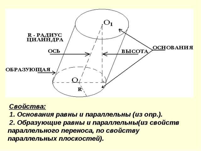 Свойства: 1. Основания равны и параллельны (из опр.). 2. Образующие равны и...