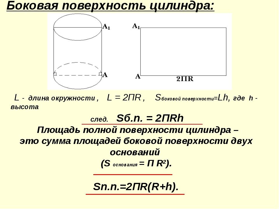 Боковая поверхность цилиндра: L - длина окружности , L = 2ПR , Sбоковой пове...