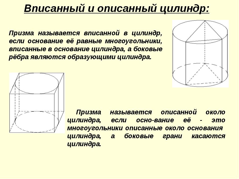 Призма называется вписанной в цилиндр, если основание её равные многоугольник...
