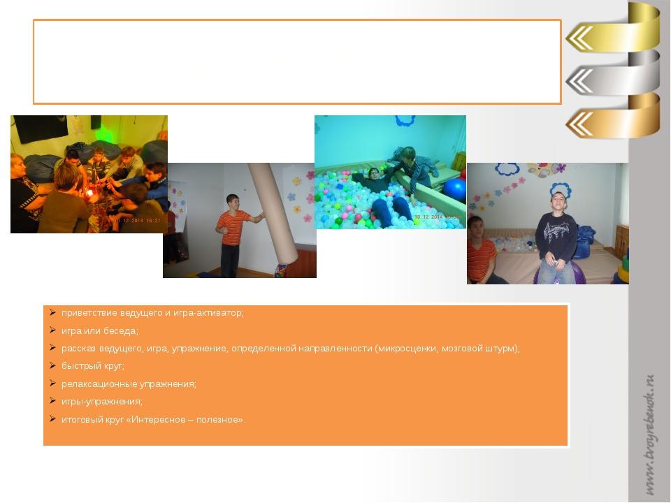 Структура занятия приветствие ведущего и игра-активатор; игра или беседа; рас...