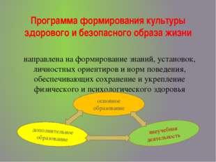 Программа формирования культуры здорового и безопасного образа жизни направле
