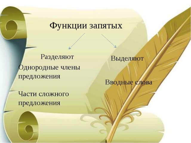 Функции запятых Разделяют Однородные члены предложения Части сложного предлож...