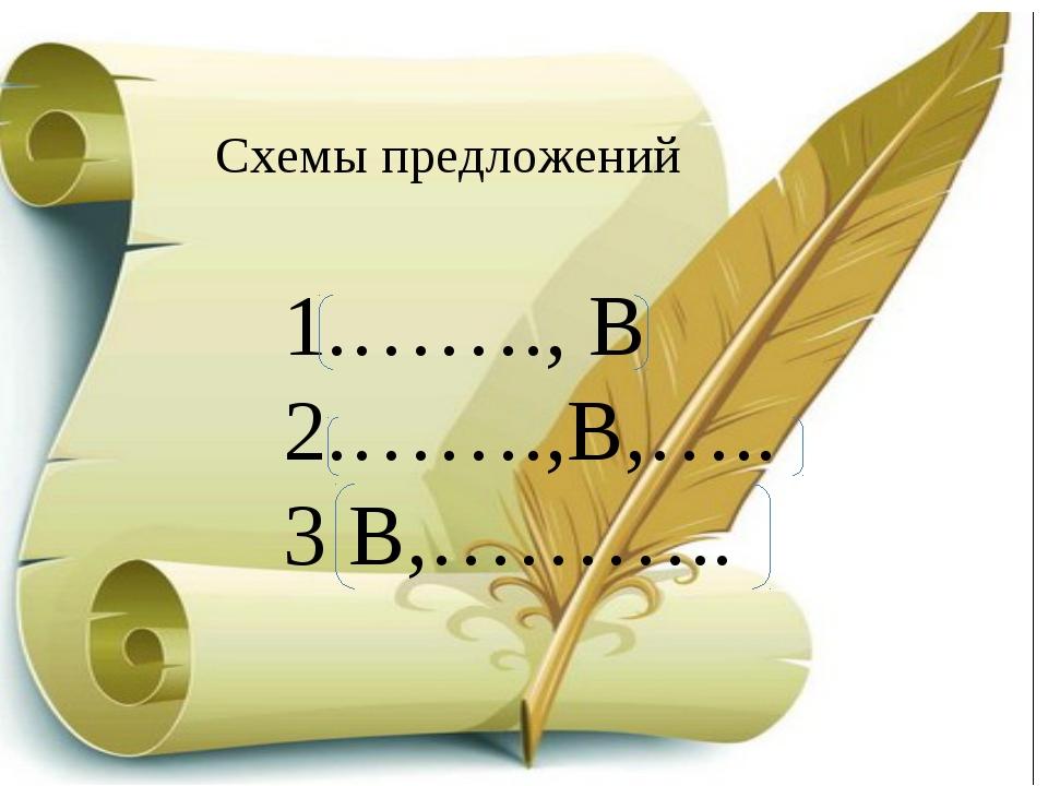 Схемы предложений 1.……., В 2.…….,В,….. 3 В,………..