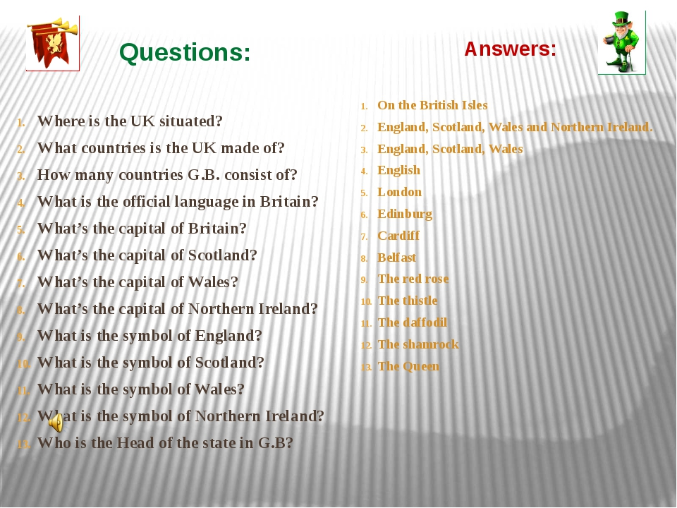 Questions: Where is the UK situated? What countries is the UK made of? How ma...