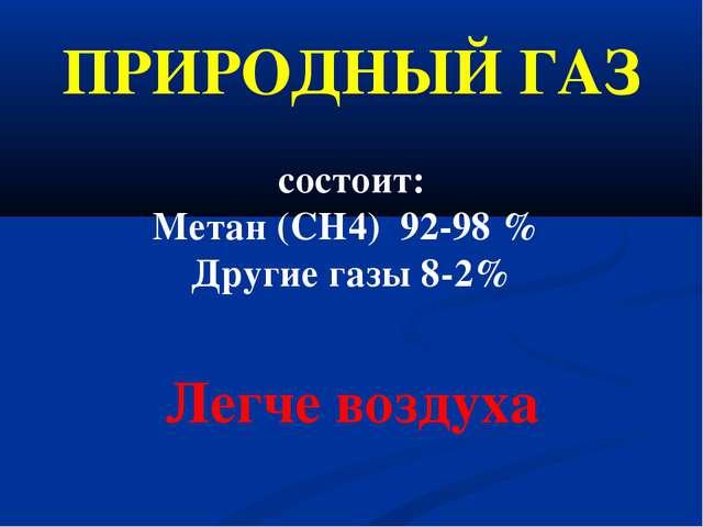 ПРИРОДНЫЙ ГАЗ состоит: Метан (CH4) 92-98% Другие газы 8-2% Легче воздуха