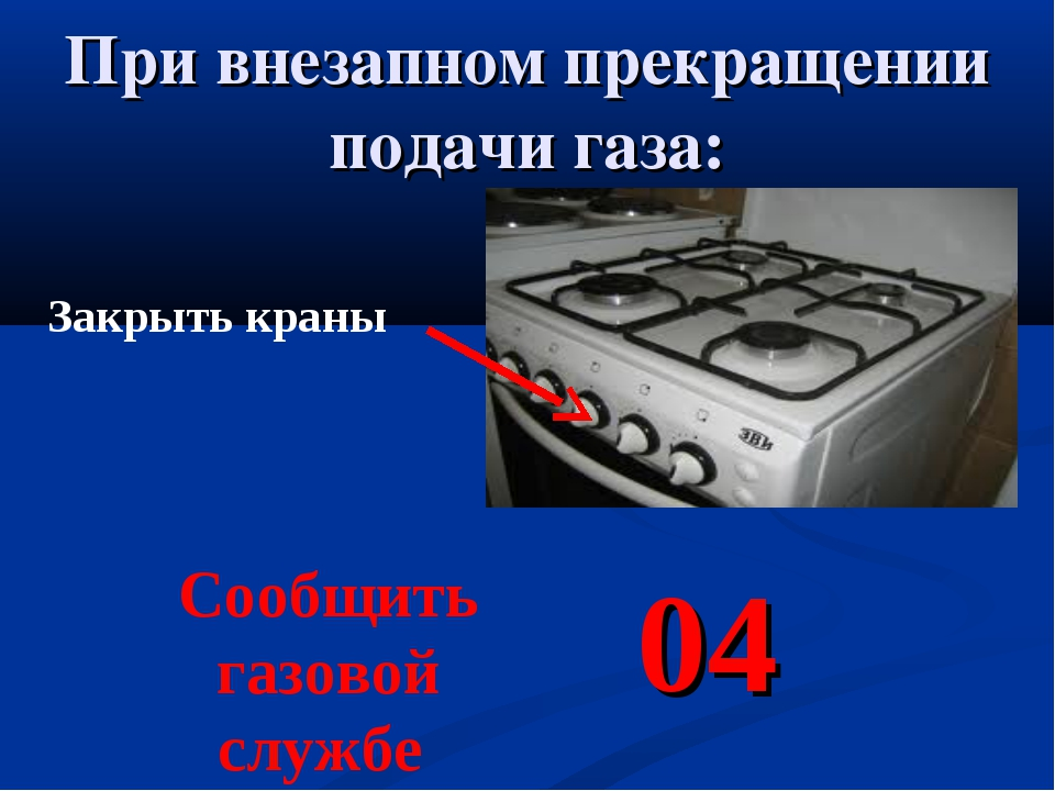 При внезапном прекращении подачи газа: Закрыть краны Сообщить газовой службе 04