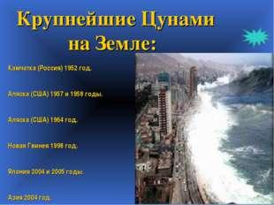 Крупнейшие Цунами на Земле: Камчатка (Россия) 1952 год. Аляска (США) 1957 и 1