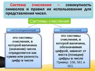 Системы счисления это системы счисления, в которой величина (значение) числа