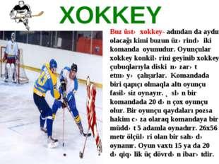 XOKKEY Buz üstə xokkey-adından da aydın olacağı kimi buzun üzərində iki koma