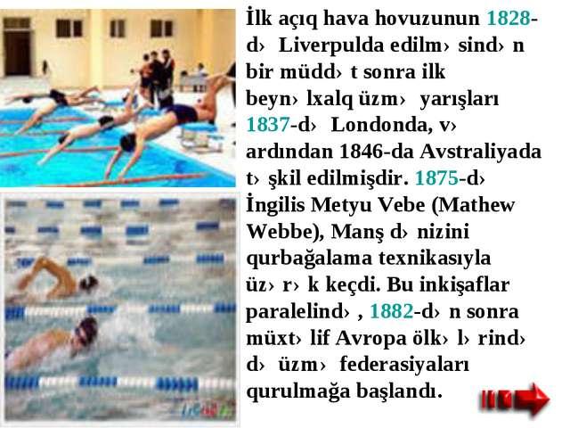 İlk açıq hava hovuzunun 1828-də Liverpulda edilməsindən bir müddət sonra ilk...