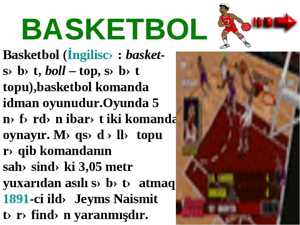BASKETBOL Basketbol(İngiliscə:basket-səbət,boll– top, səbət topu),basketb...