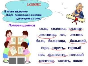 В корне заключено общее лексическое значение однокоренных слов. соль, солонк