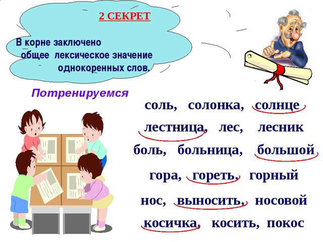 В корне заключено общее лексическое значение однокоренных слов. соль, солонк...