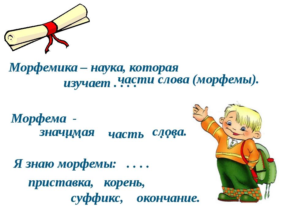 Морфемика – наука, которая изучает . . . . Морфема - . . . часть . . . Я зна...