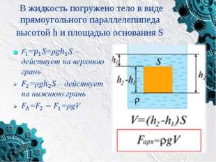 В жидкость погружено тело в виде прямоугольного параллелепипеда высотой h и п