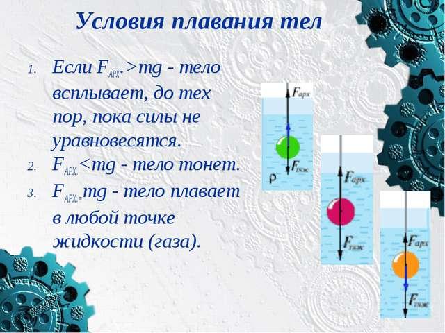 Условия плавания тел Если FАРХ.>mg - тело всплывает, до тех пор, пока силы не...
