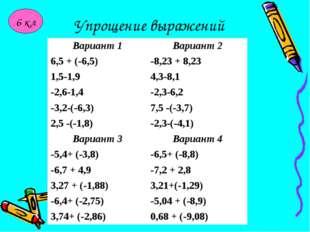 Упрощение выражений 6 кл Вариант 1Вариант 2 6,5 + (-6,5)-8,23 + 8,23 1,5-1,
