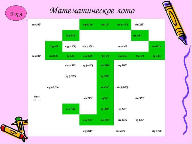 Математическое лото 9 кл cos 165°ctg 0,3π:sin 15°cos (- 45°)sin 225°...