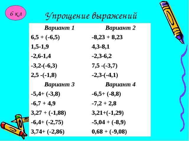 Упрощение выражений 6 кл Вариант 1Вариант 2 6,5 + (-6,5)-8,23 + 8,23 1,5-1,...