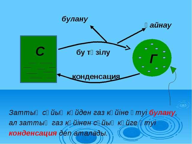C Г бу түзілу конденсация қайнау булану Заттың сұйық күйден газ күйіне өтуі б...