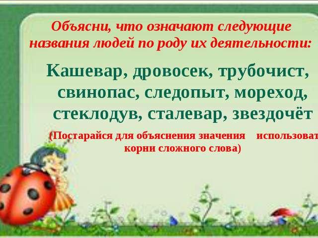 Объясни, что означают следующие названия людей по роду их деятельности: Кашев...