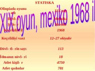 STATISKA Olinpiada oyunu adıXIX yay DövlətMeksika ŞəhərMexiko Keçrildiyi