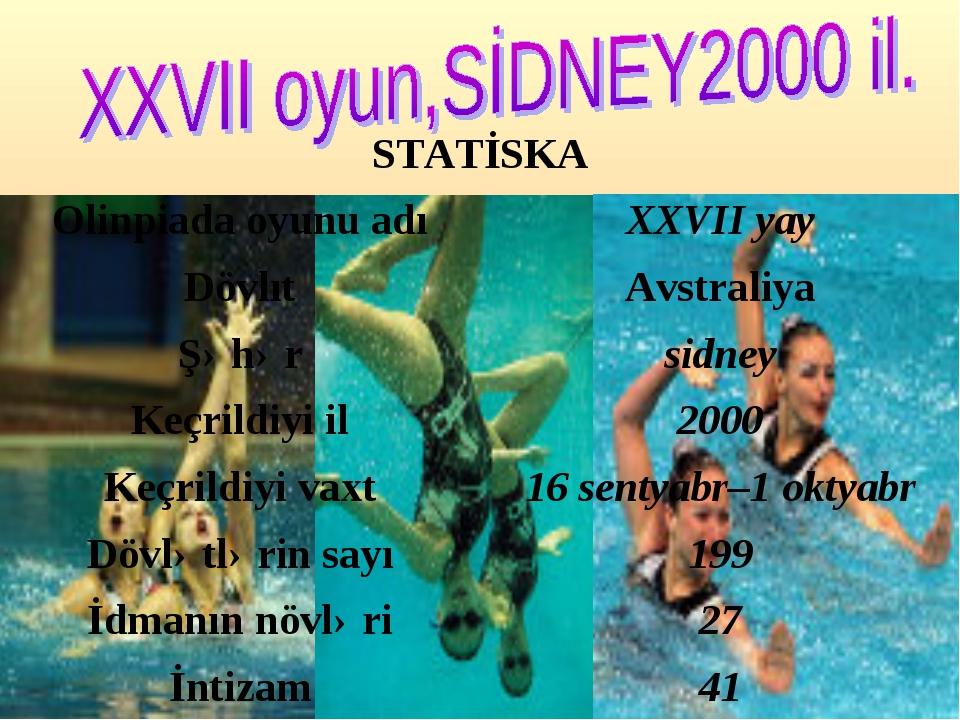STATİSKA Olinpiada oyunu adıXXVII yay DövlıtAvstraliya Şəhərsidney Keçril...
