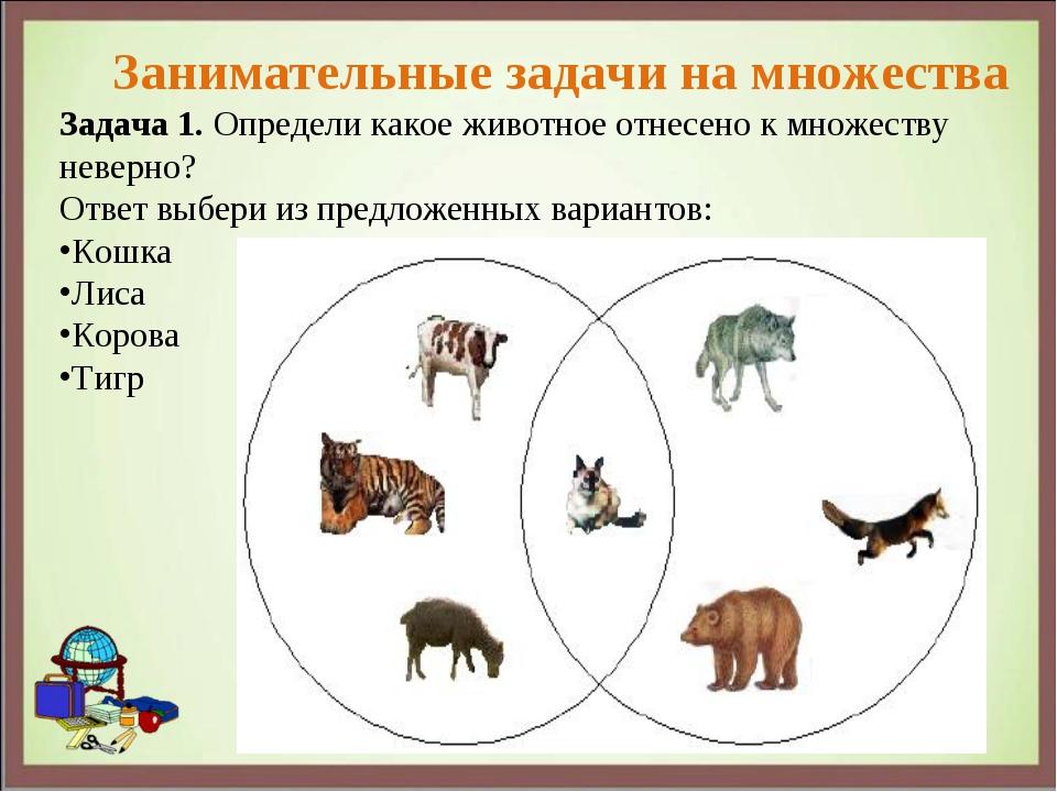Задача 1. Определи какое животное отнесено к множеству неверно? Ответ выбери...