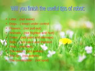 Litter…(not leave) Dogs…( keep) under control Flowers…(not pull out) Animals…