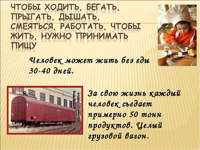 Человек может жить без еды 30-40 дней. За свою жизнь каждый человек съедает п...