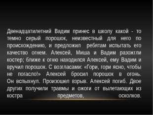 Двенадцатилетний Вадим принес в школу какой - то темно серый порошок, неизвес