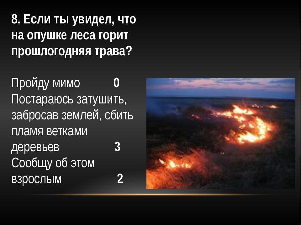 8. Если ты увидел, что на опушке леса горит прошлогодняя трава? Пройду мимо...
