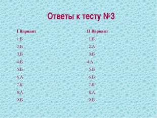 Ответы к тесту №3 I Вариант 1.Б 2.Б 3.Б 4.Б 5.Б 6.А 7.Б 8.А 9.Б II Вариант 1.
