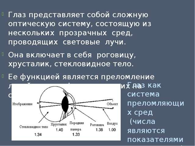 Глаз представляет собой сложную оптическую систему, состоящую из нескольких п...