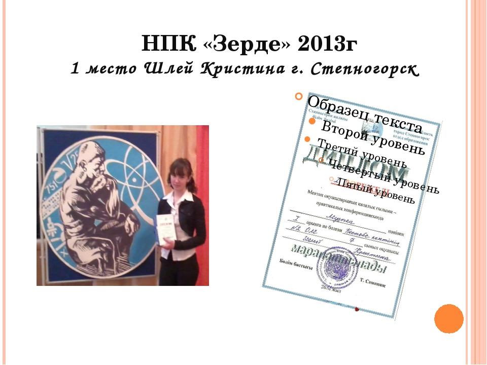 НПК «Зерде» 2013г 1 место Шлей Кристина г. Степногорск