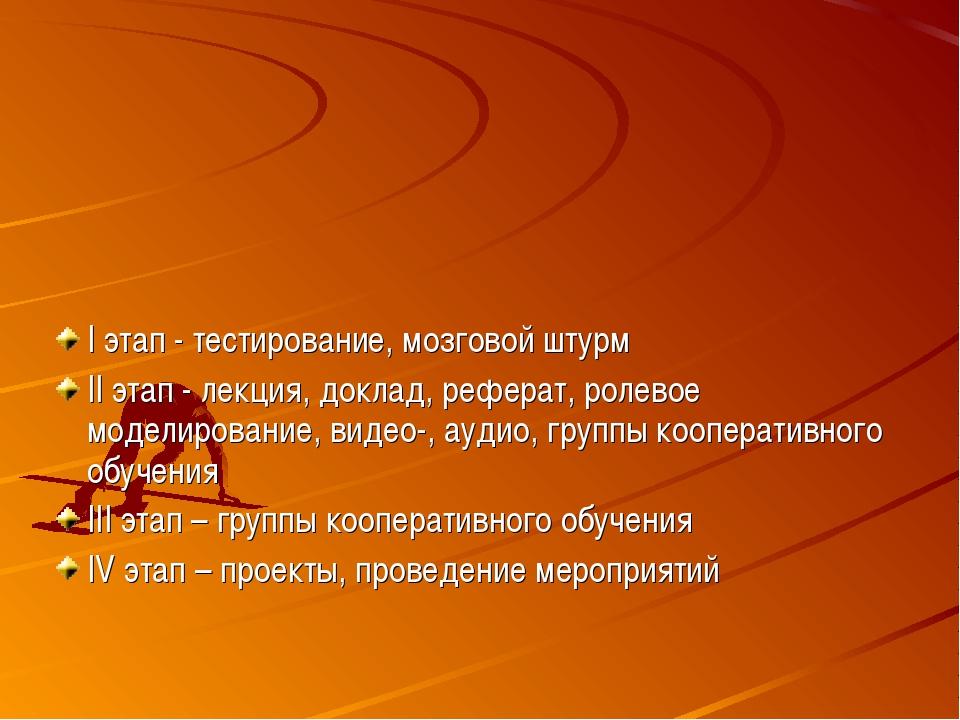 I этап - тестирование, мозговой штурм II этап - лекция, доклад, реферат, роле...