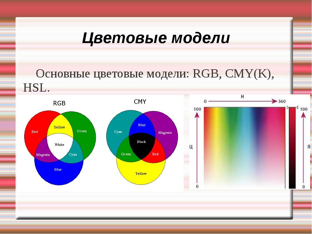 Цветовые модели Основные цветовые модели: RGB, CMY(K), HSL.