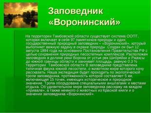Заповедник «Воронинский» На территории Тамбовской области существует система
