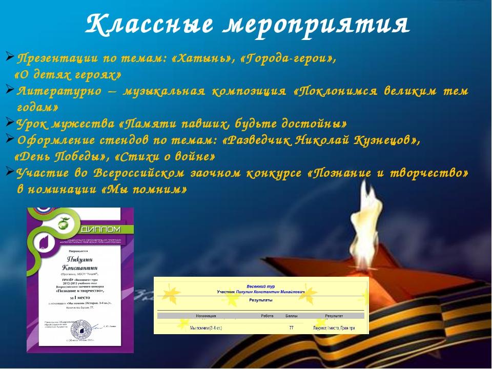 Классные мероприятия Презентации по темам: «Хатынь», «Города-герои», «О детях...