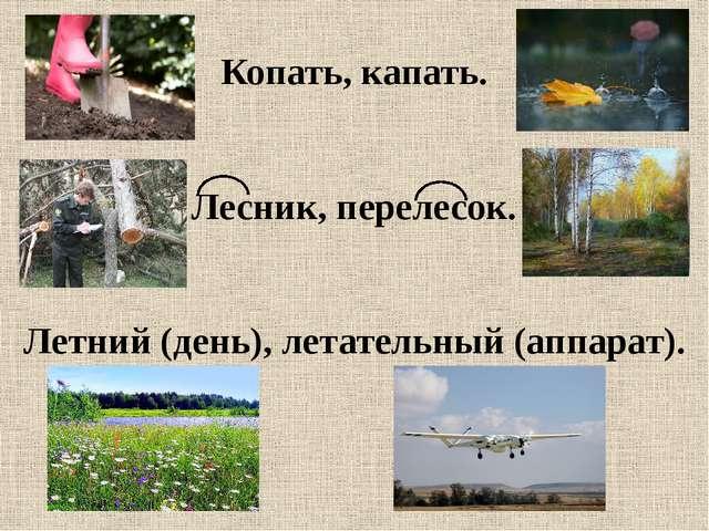Копать, капать. Лесник, перелесок. Летний (день), летательный (аппарат).
