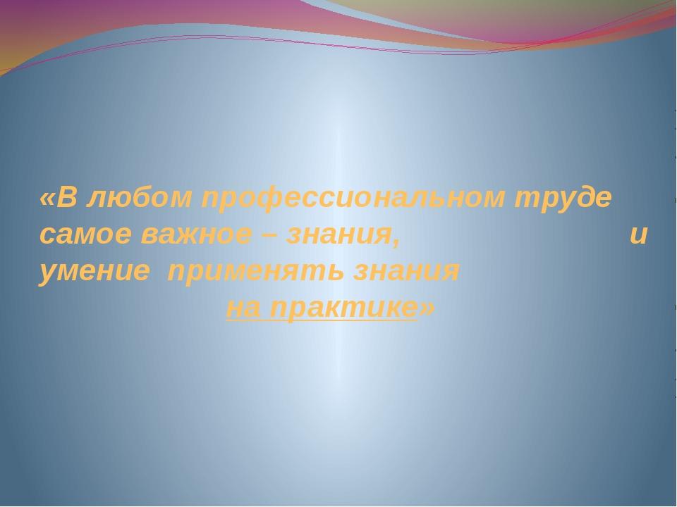 «В любом профессиональном труде самое важное – знания, и умение применять зна...