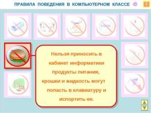  ПРАВИЛА ПОВЕДЕНИЯ В КОМПЬЮТЕРНОМ КЛАССЕ Нельзя приносить в кабинет информа