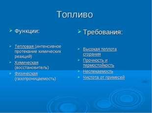 Топливо Функции: Тепловая (интенсивное протекание химических реакций) Химичес