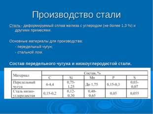 Производство стали Сталь - деформируемый сплав железа с углеродом (не более 1