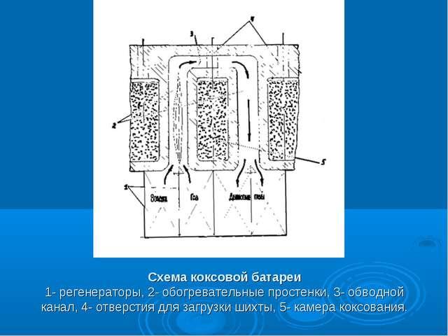 Схема коксовой батареи 1- регенераторы, 2- обогревательные простенки, 3- обво...