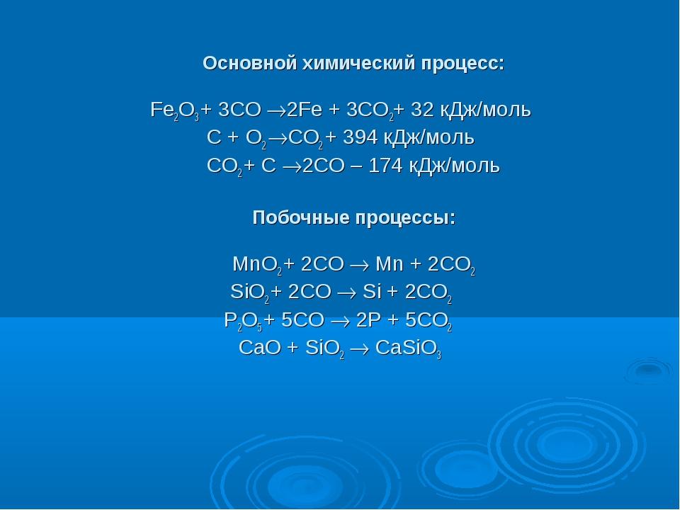 Основной химический процесс: Fe2O3 + 3CO 2Fe + 3CO2+ 32 кДж/моль C + O2 CO...
